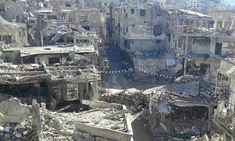 Archive- Massive destruction in the city of Al-Zabadani- (Activists)
