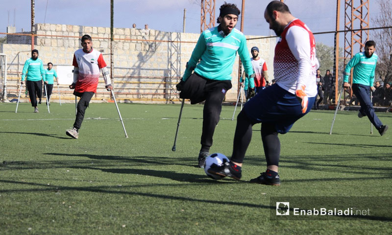 Amputee young men participating in a football match in Idlib - 15 January 2018 (Enab Baladi)