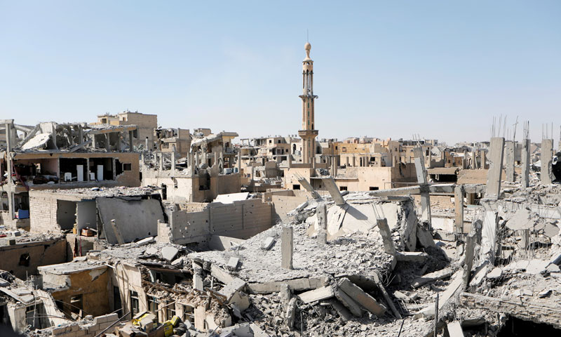Damaged buildings in the city of Raqqa - August 17, 2017 (Reuters)