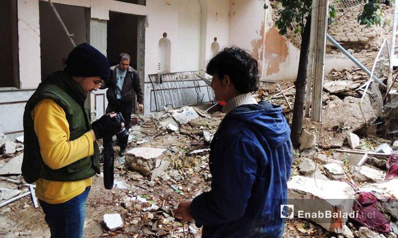 Activists inside the Church of Jobar east of Damascus - 2016 (Enab Baladi)