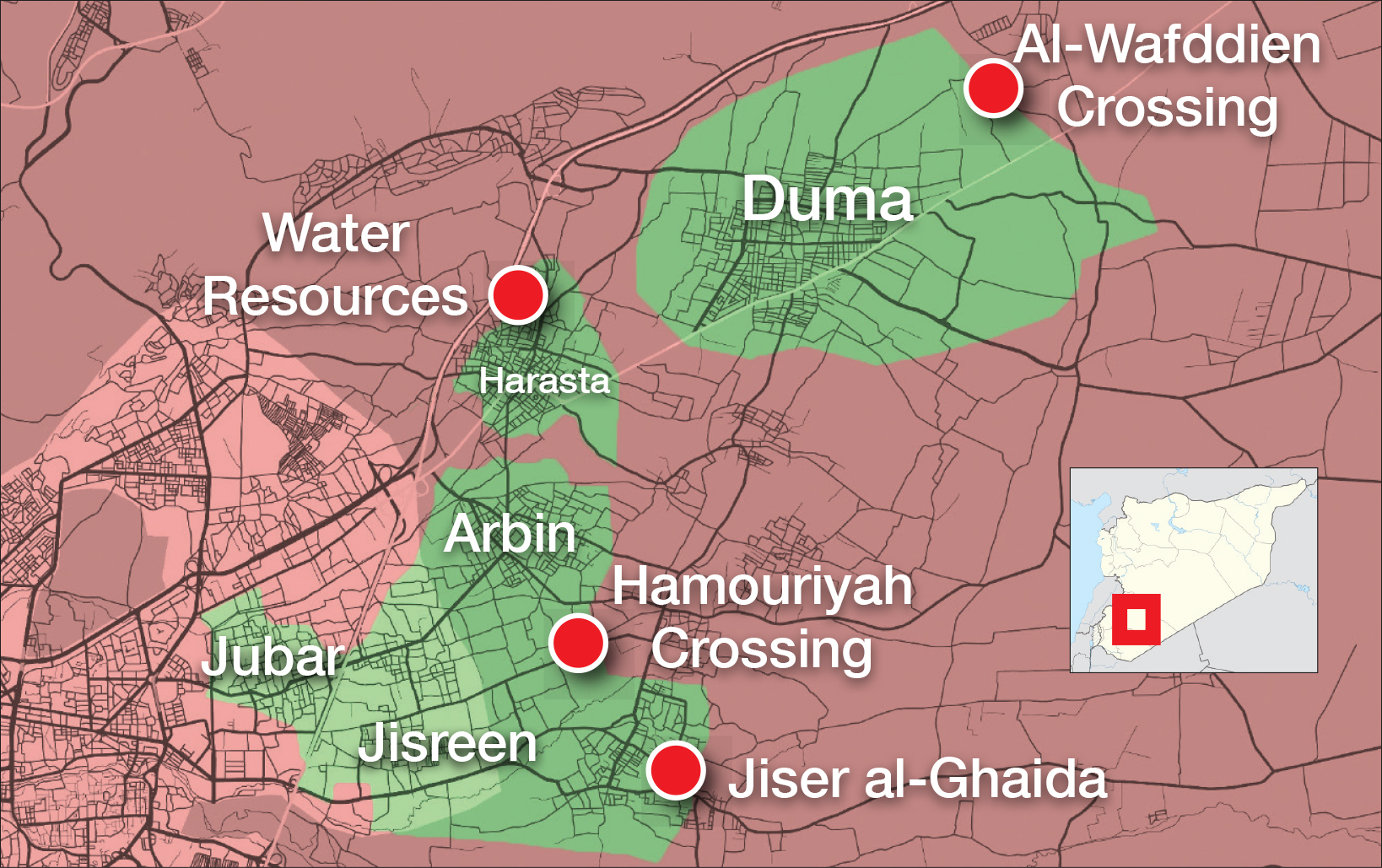 A map explaining the military control in eastern Ghouta and the locations of the crossings in the regime and the opposition areas – March 17.2018 (Livemap)