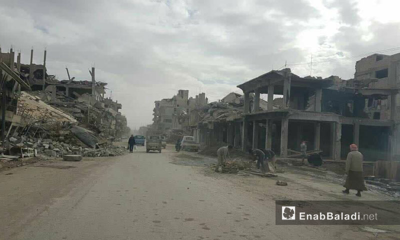 A destroyed neighborhood in the city of Raqqa – March 1, 2018 (Enab Baladi)