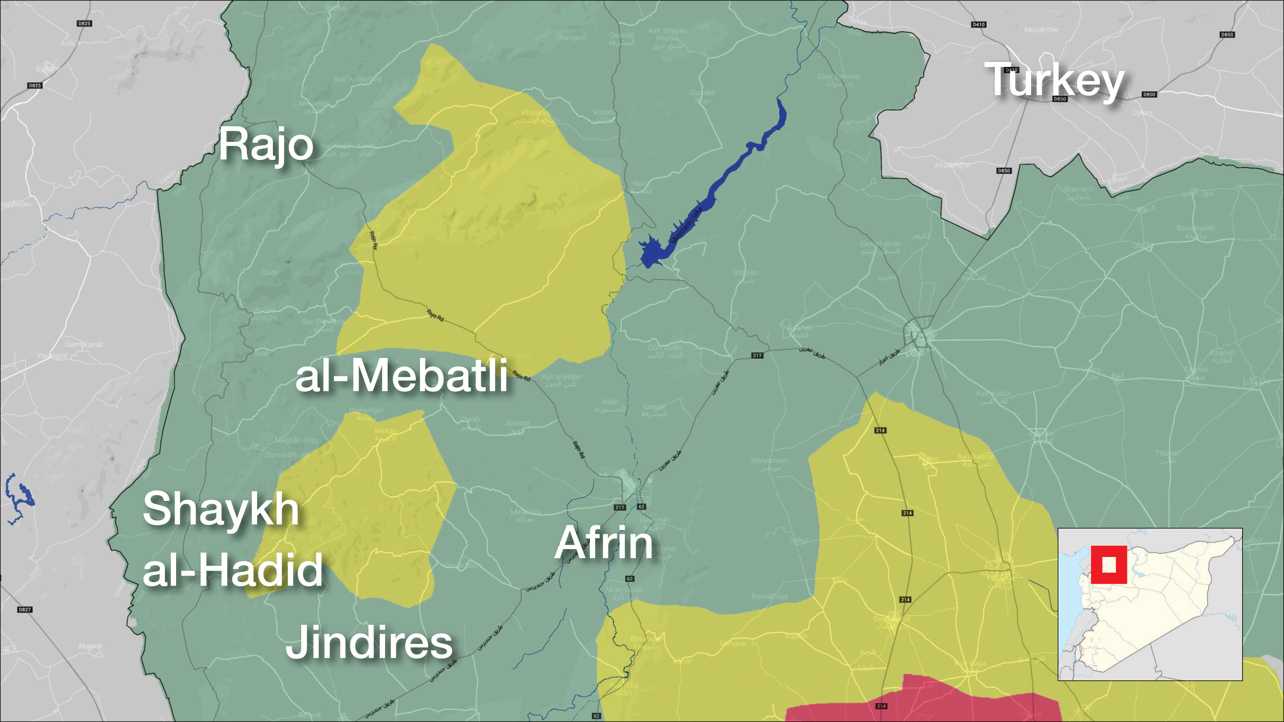 The control map of Afrin and its surrounding – March 18. 2018 (Enab Baladi)