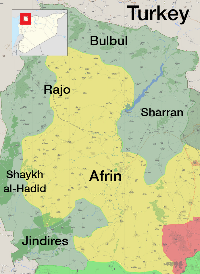 The military control map in Afrin, Northern Aleppo – March 3. 2018 (Livemap)