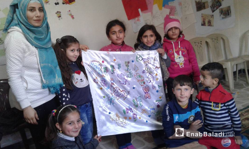 """Children participating in the activities of """"Dan"""" Association's """"Tomorrow Buds"""" Project – February 2018 (Enab Baladi)"""