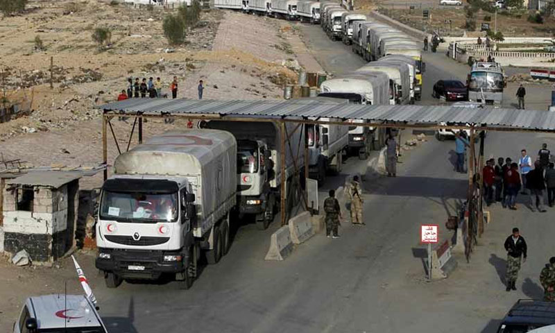 UN aid convoys at the al-Wafddien Camp Crossing in Eastern Ghouta- (Internet)