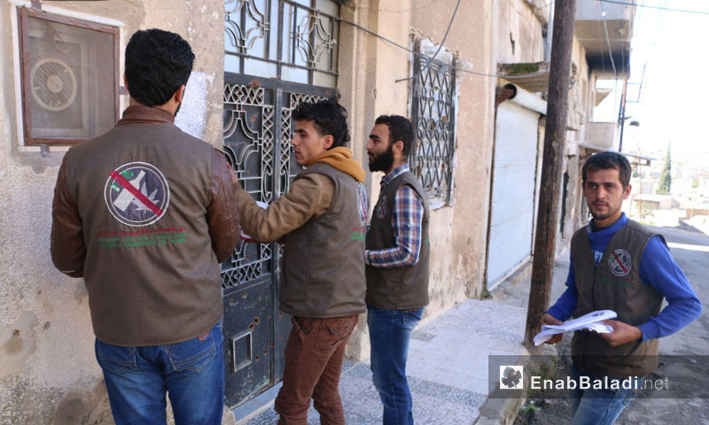 One of the campaigns of Voluntary Drugs Addiction Control Team in the Northern Countryside of Homs – January 2018 (Enab Baladi)