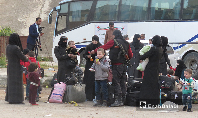 The displaced people of Harasta in Qalaat al-Madiq in the western countryside of Hama – March 23, 2018 (Enab Baladi)