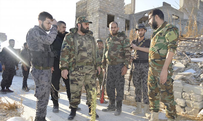 Members of al-Mazrou group, under the department 215, at the fronts of al-Qadam neighborhood – February 2018 (Facebook)