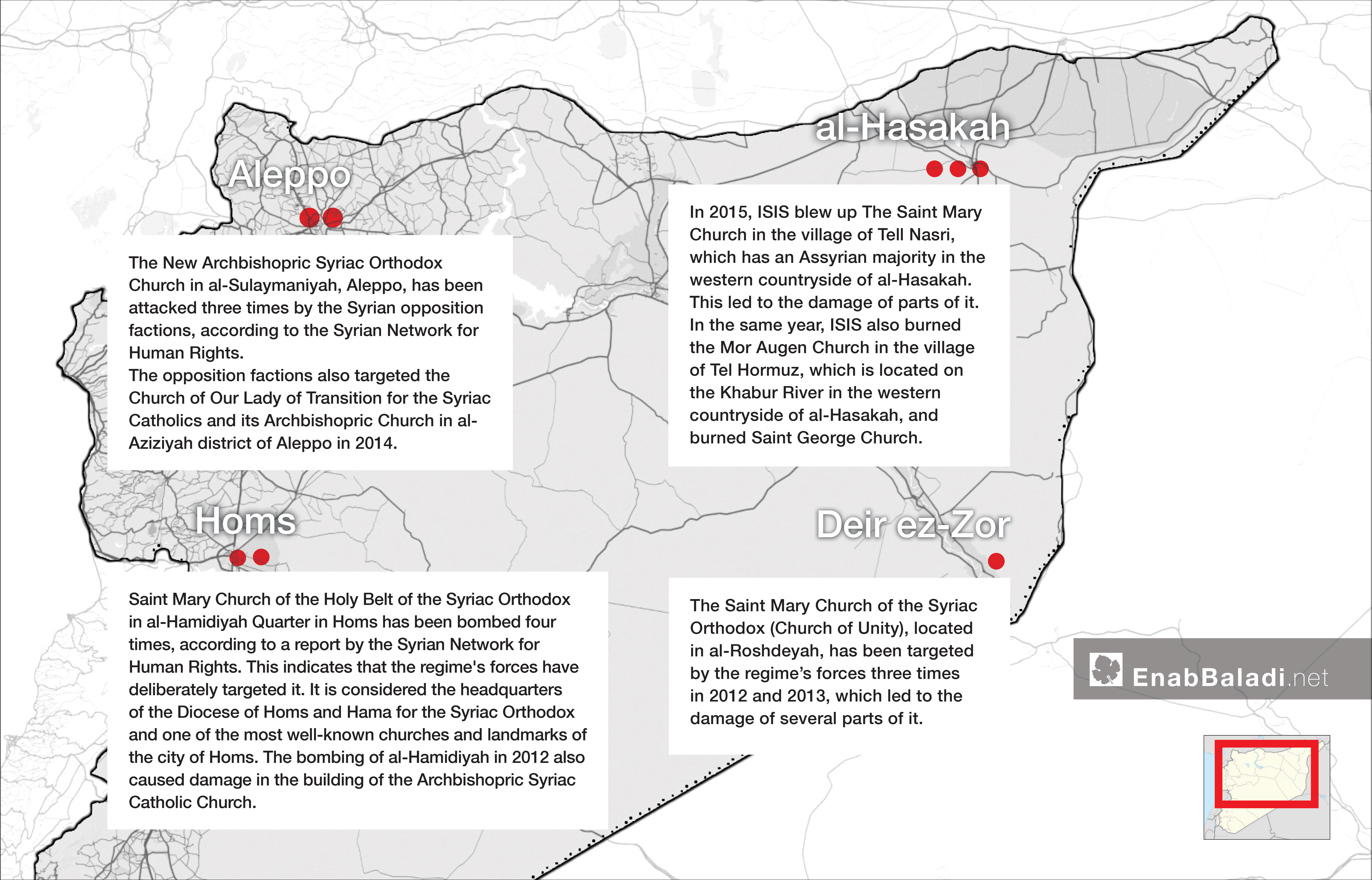 Map showing the distribution of Syriac churches that have been destroyed in Syria (Enab Baladi)
