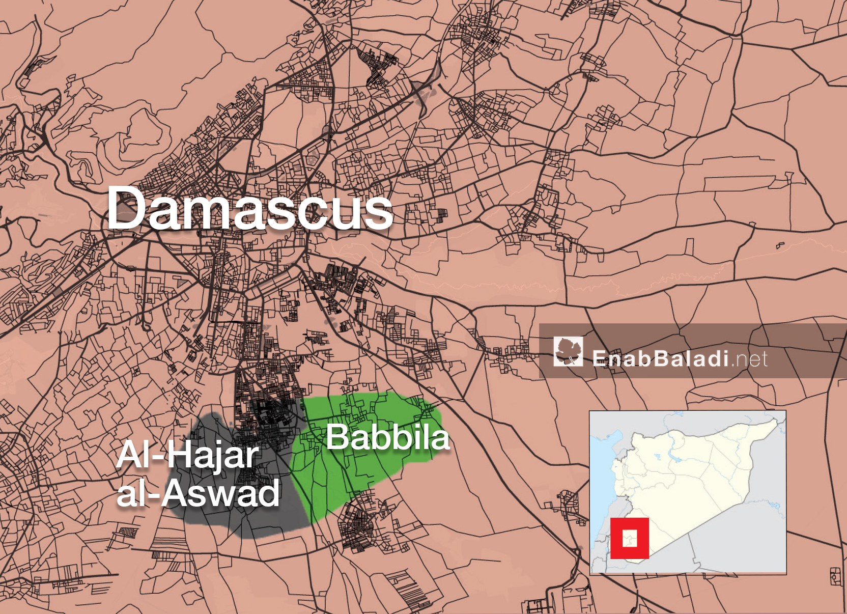 A map showing the military control over Damascus – April 21. 2018 (Livemap)