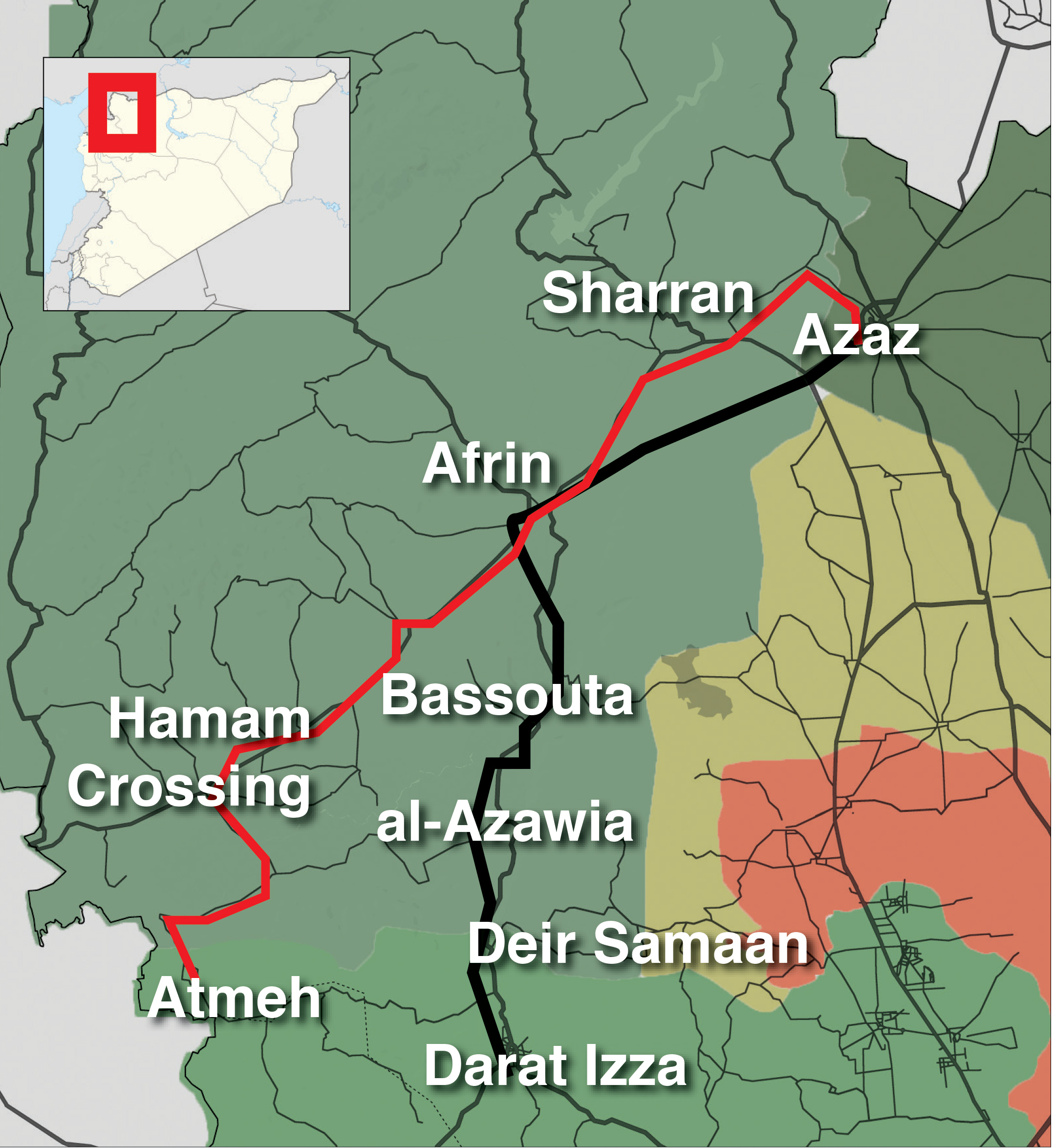 A map representing the positioning of crossings in Afrin in Rural Aleppo (Enab Baladi)