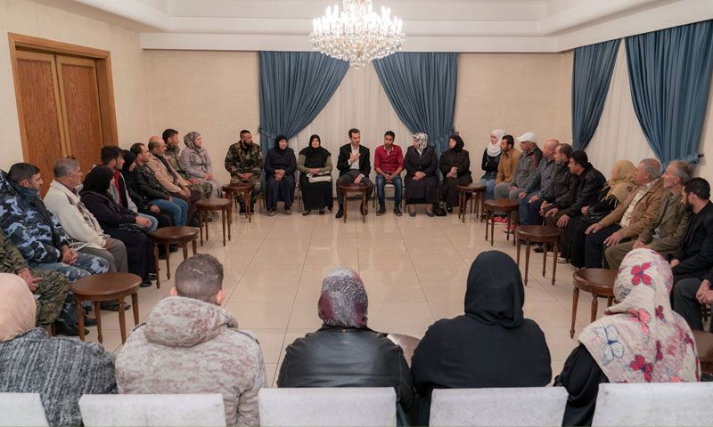Bashar al-Assad, the president of the Syrian regime, receiving a number of the abductees' relatives in Damascus – April 10. 2018 (SANA)