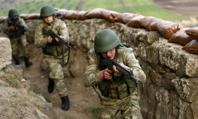 Turkish soldiers on the Syrian borders near the city of Kilis – March 2017 (Reuters)