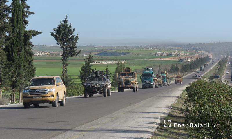 A Turkish convoy enters rural Hama to install the ninth monitoring point – April 7. 2018 (Enab Baladi)