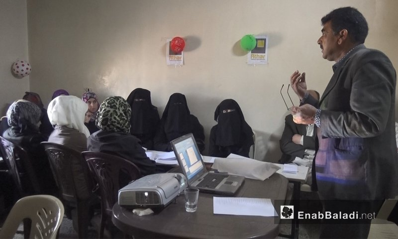A mothers' training course run by Athar Organization in the northern countryside of Idlib – April 19. 2018 (Enab Baladi)