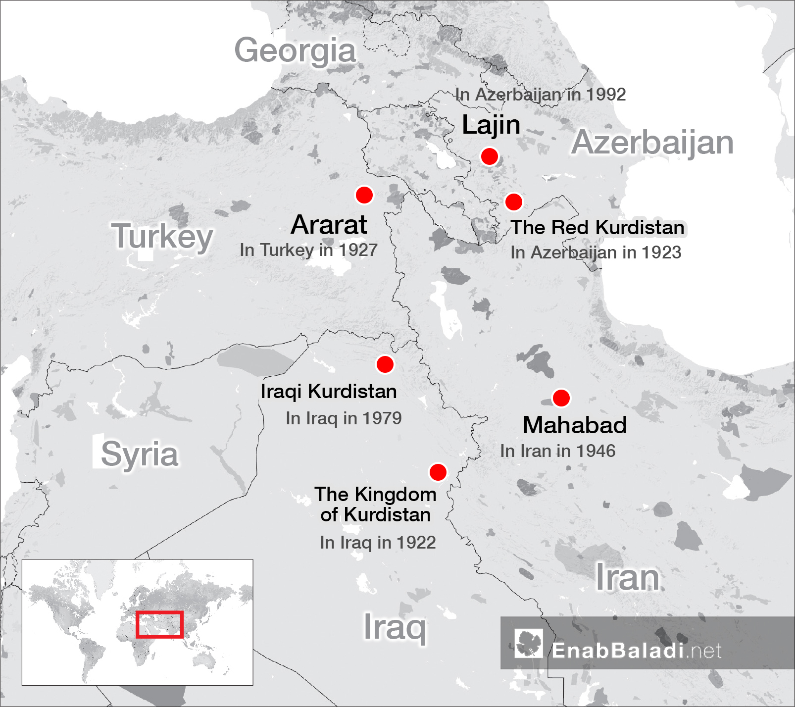 Map showing the attempts of the Kurds to establish an independent state (Enab Baladi)