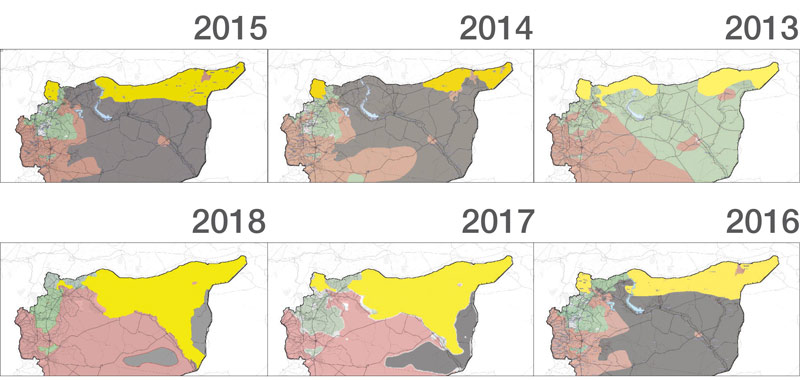 Maps showing the change of the Syrian Democratic Forces' control in northern Syria (Enab Baladi)