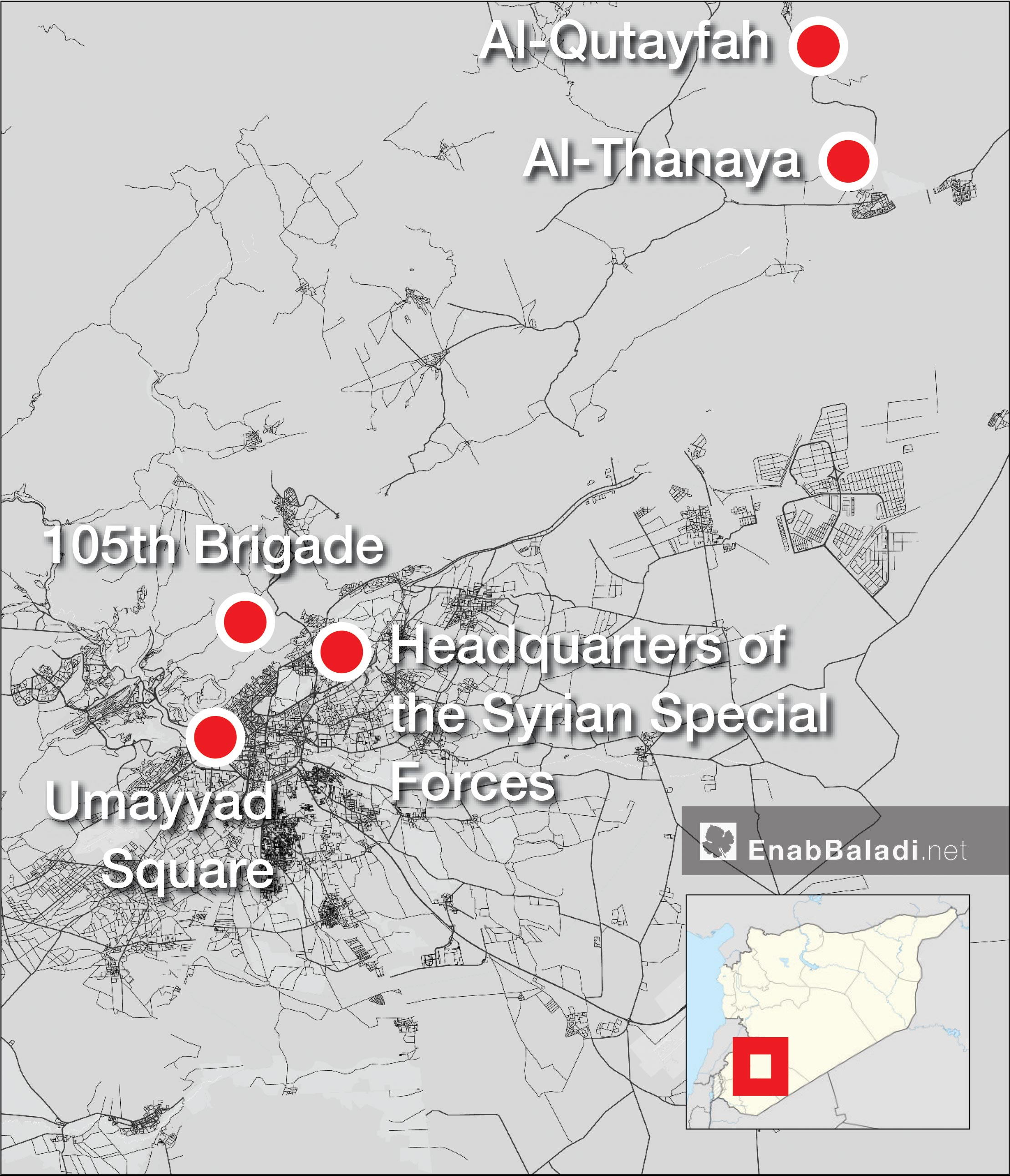 A map showing the locations where al-Assad is hiding his chemical weapons in Damascus and its countryside (Enab Baladi)