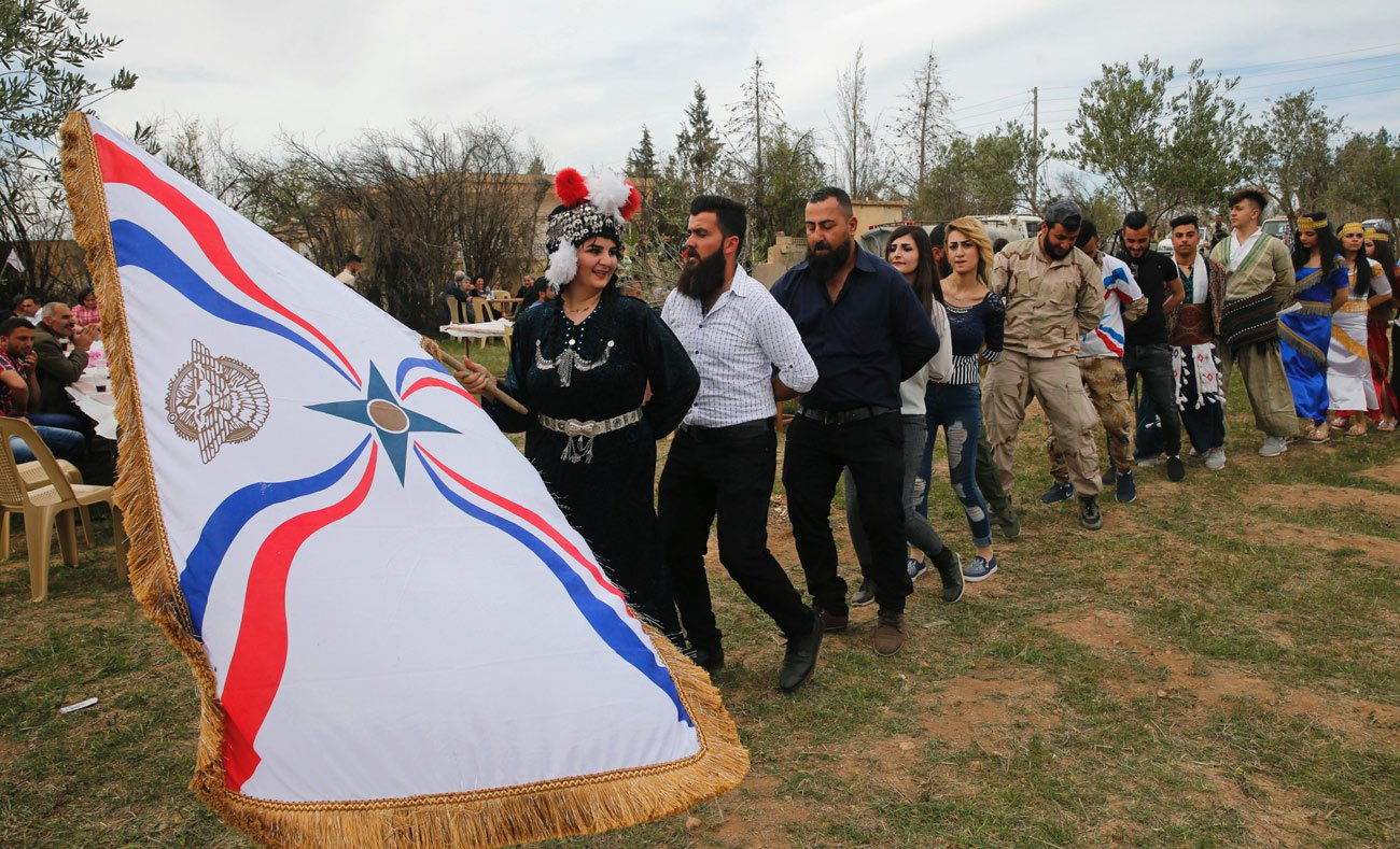 Assyrians celebrating Easter in Tal Arboush in Northern Syria – April 1. 2018 (AFP)