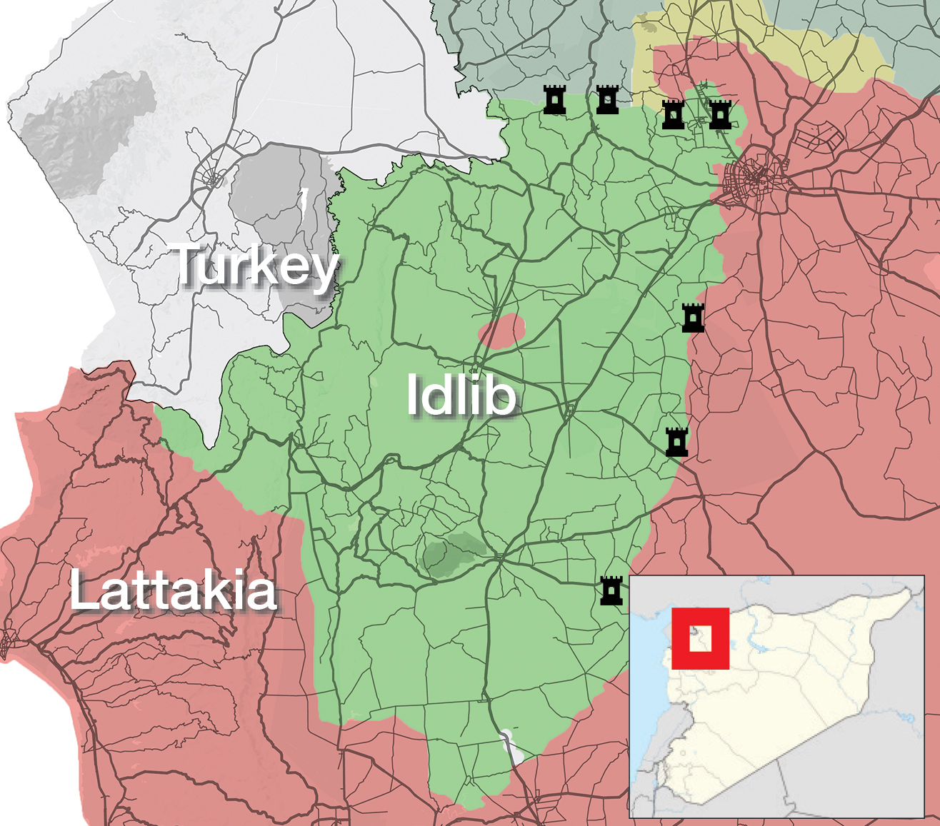 A map showing the locations of the Turkish monitoring points in Idlib governorate (Enab Baladi)