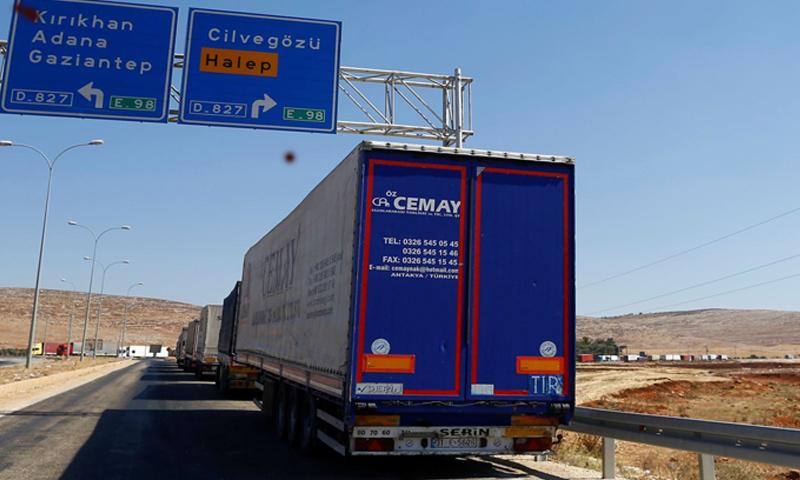 Turkish vehicles entering Idlib through the Bab al-Hawa Border Crossing – September 16, 2016 (Reuters)