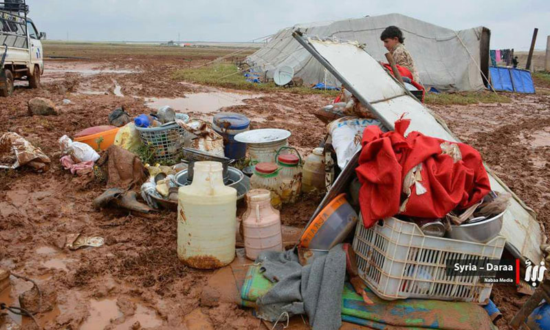 The drowning of refugee camps due to torrents in rural Daraa – April 2018 (Nabaa)