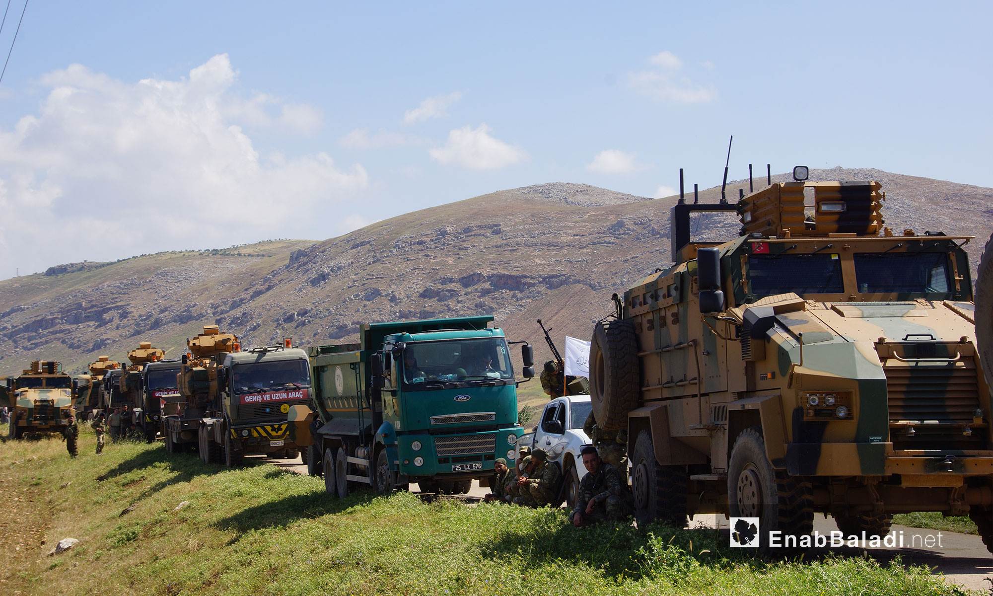 Turkish forces are positioning in the town of Shair al-Maghar in the Shashabo Mountain in the western countryside of Hama – May 14. 2018 (Enab Baladi)