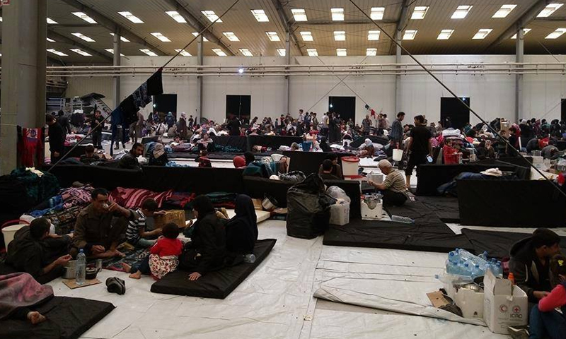 A housing center at al-Fehaa sport club in Damascus – March 28. 2018 (Damascus Now)