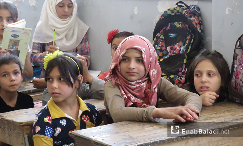 Students returned to their schools after the relative ceasefire in the liberated areas of Hama - October 3, 2018 (Enab Baladi)