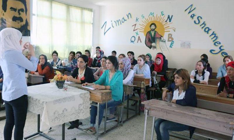 Female students class in a Kurdish school in al-Hasakah province