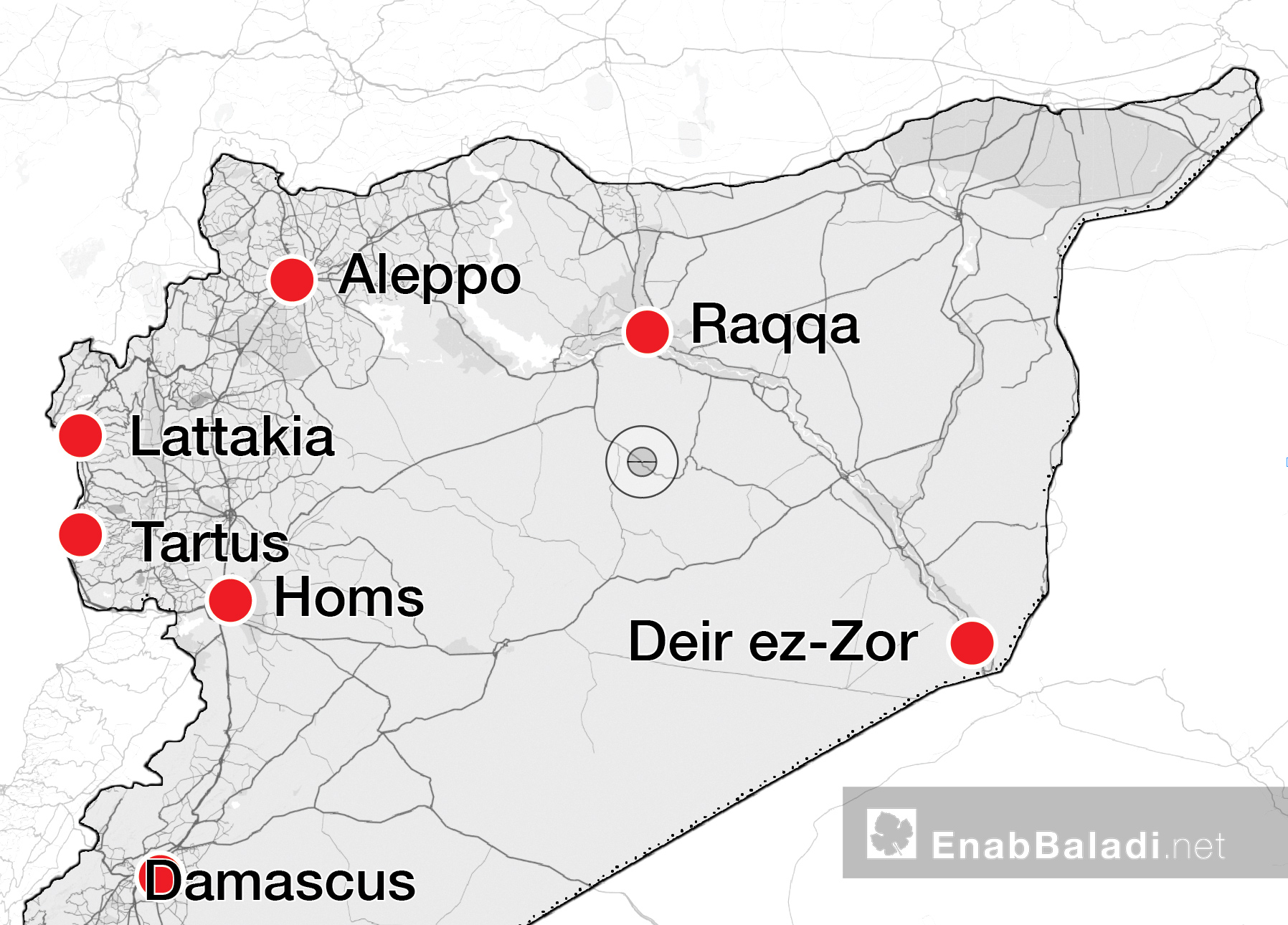 A map showing the distribution of the markets of looted goods in Syria (modified by Enab Baladi)