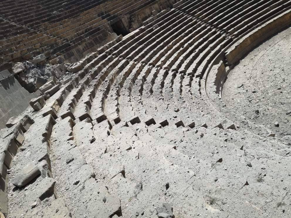 The Damage inflicted upon the Roman amphitheater in Bosra al-Sham – June 28, 2018 (Bosra Bureau of Antiquities)