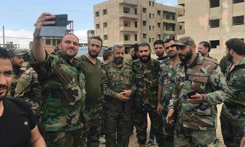 Ghiath Dala along his personnel in Quneitra (Facebook)