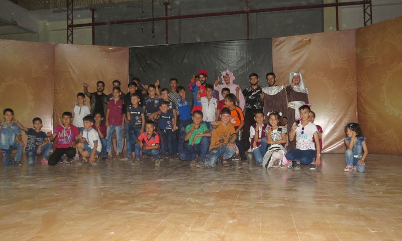 """""""Nour al-Sham"""" Team presenting their play """"The Governor and the Fisher Man."""""""
