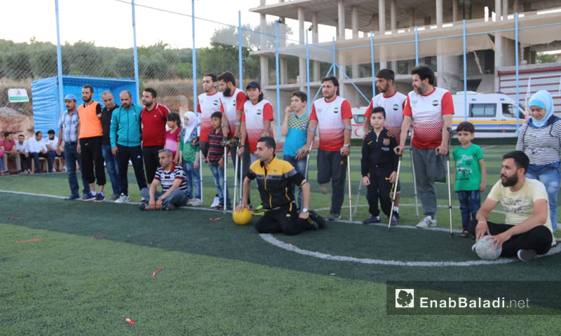 Of the people with disabilities sports' day activities in the Kafr Takharim Stadium, Idlib – June 19, 2018 (Enab Baladi)