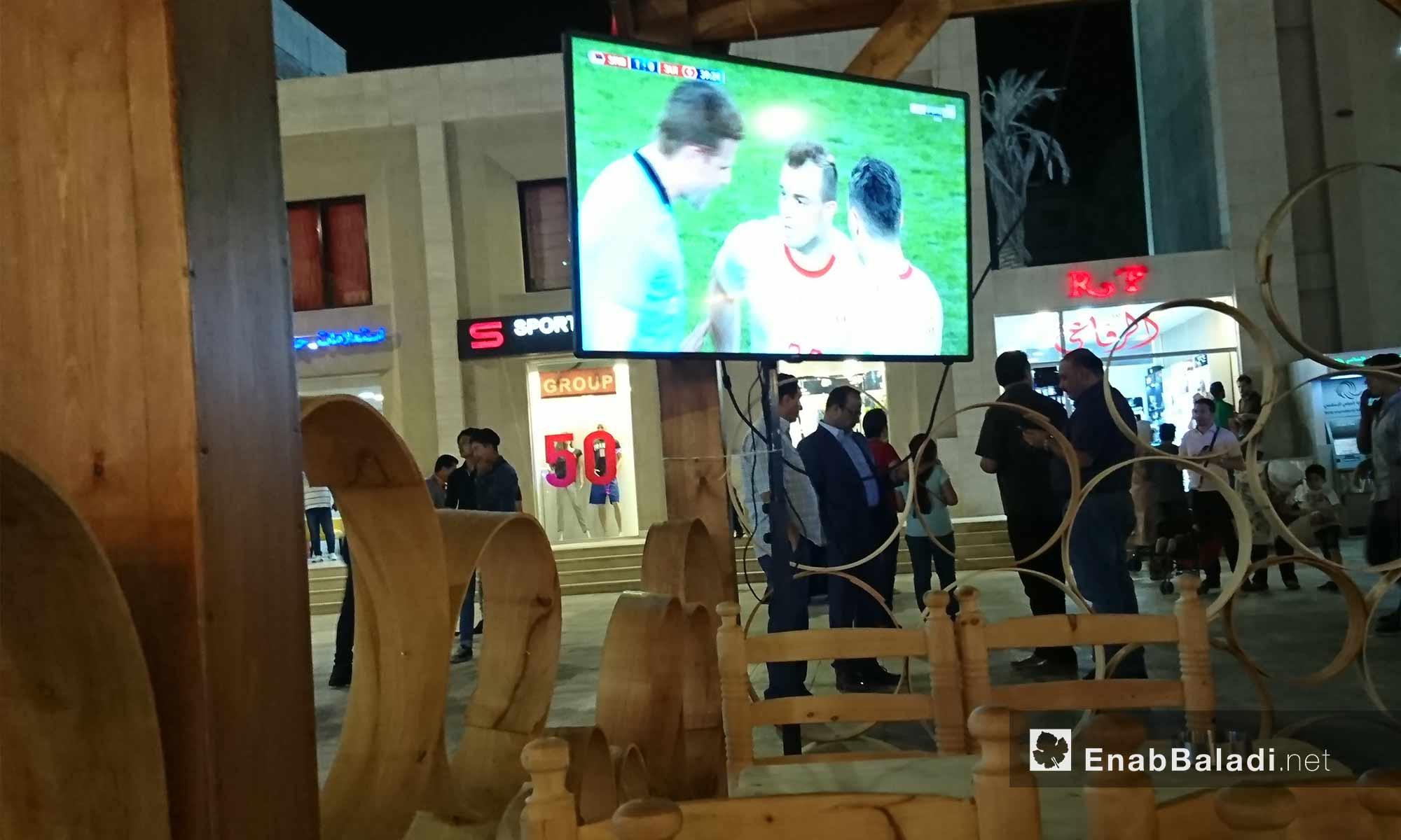 World Cup match at the Uptown Center in Mashrou Dummar, Damascus – June 22, 2018 (Enab Baladi)