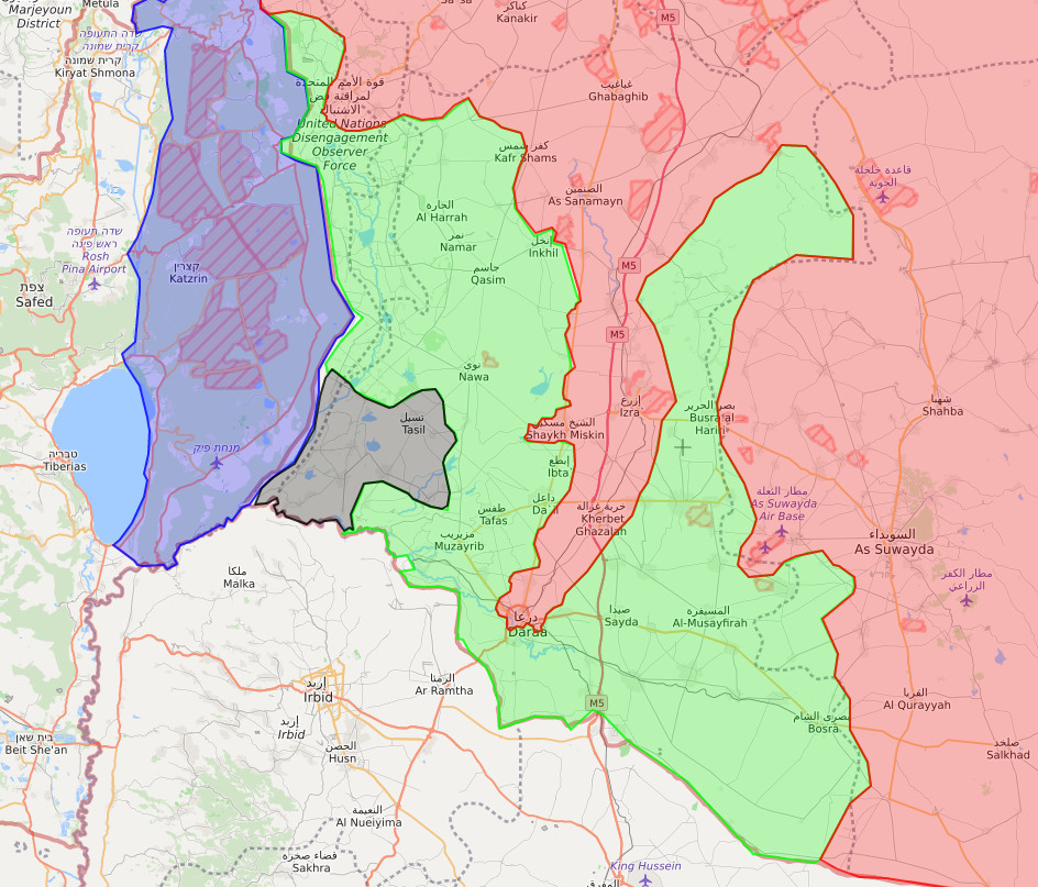A map showing the opposition faction's points of control in Southern Syria – June 22, 2018 (LM)