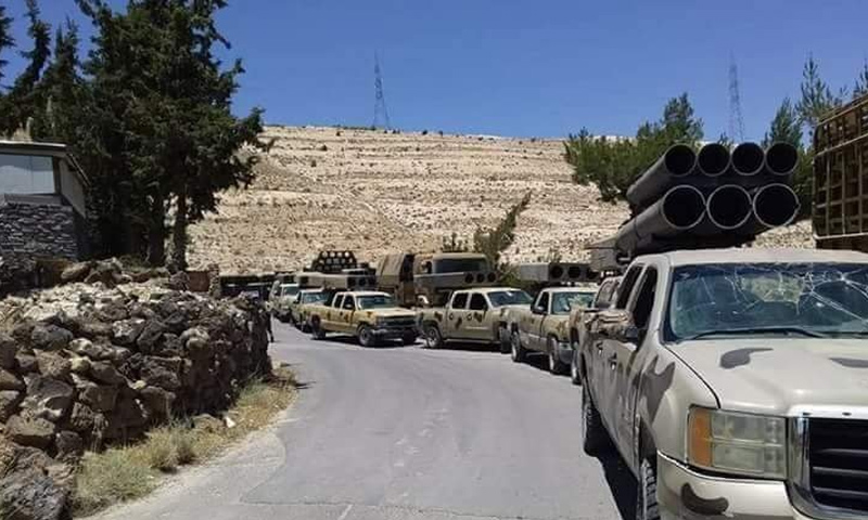 Vehicles boarding Golan Rocket launchers on the way to Daraa's surrounding – June 18, 2018 (Facebook)