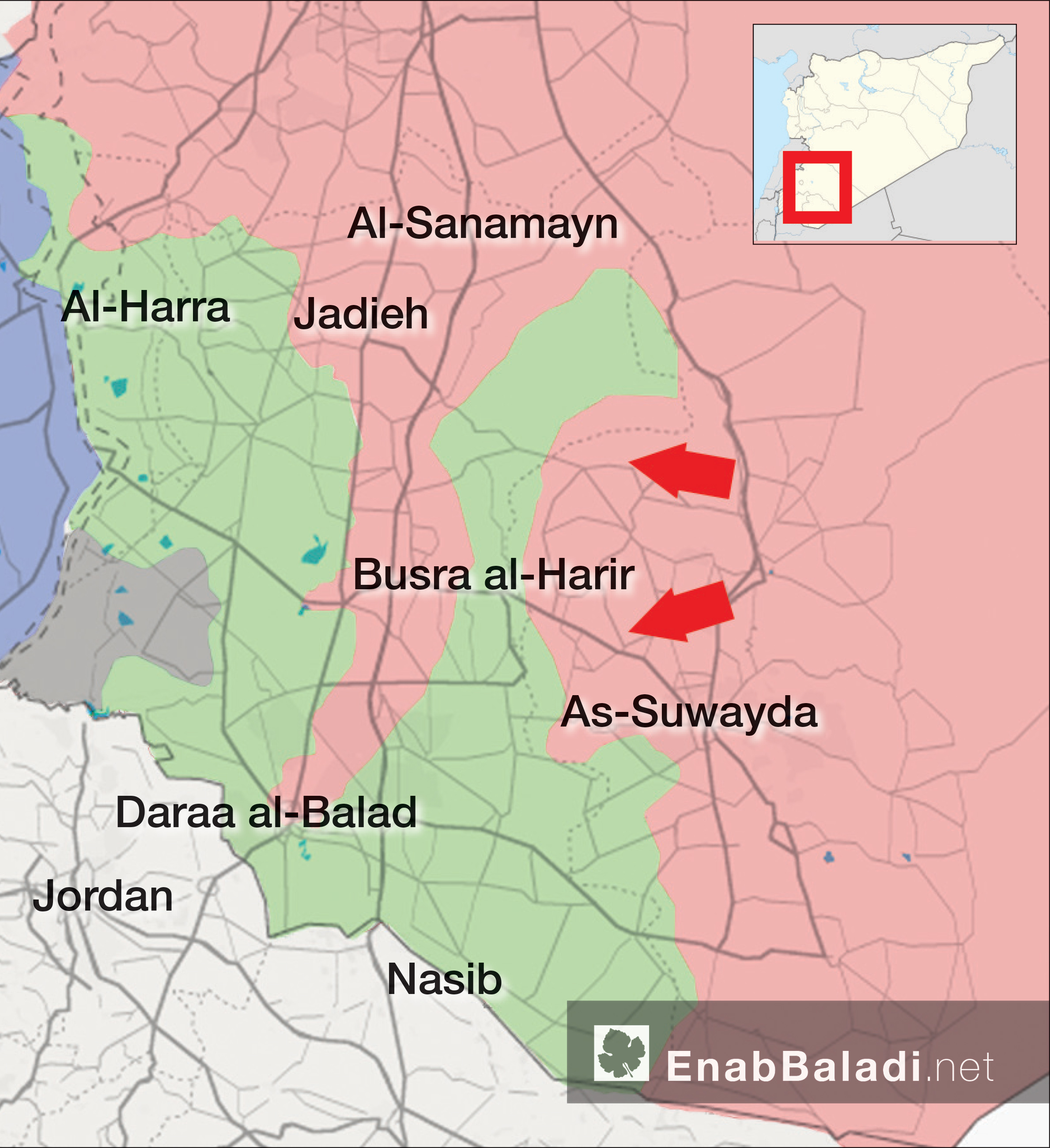A map showing three potential target positions for the expected battle in Daraa – June 24, 2018 (Enab Baladi)