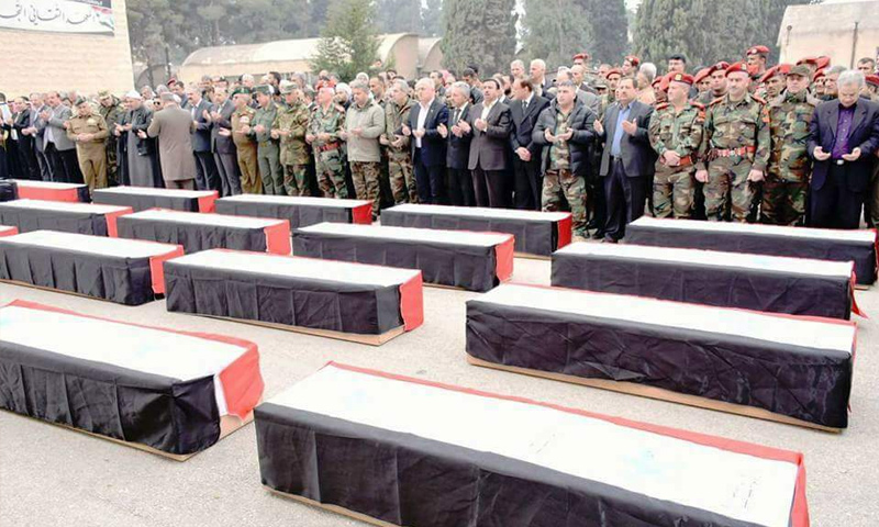 The funeral of Assad's forces' troops who were killed in rural Lattakia – June 2018 (Facebook)