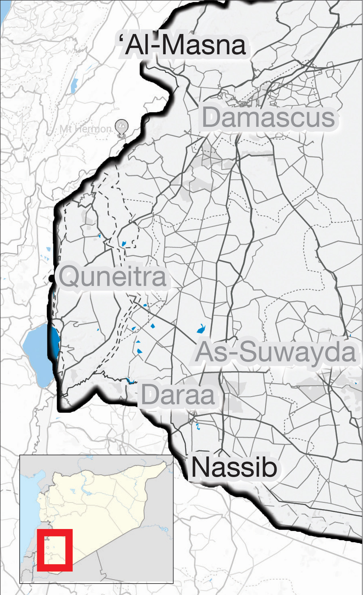 Figures on the economic reality in Jordan in a map showing the border crossings in Southern Syria (Enab Baladi)