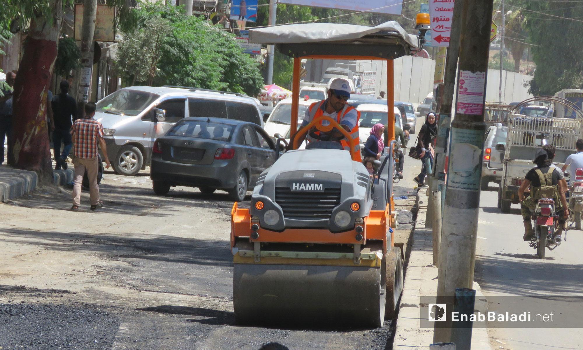 Road rehabilitation process in the city of Afrin – July 9, 2018 (Enab Baladi )