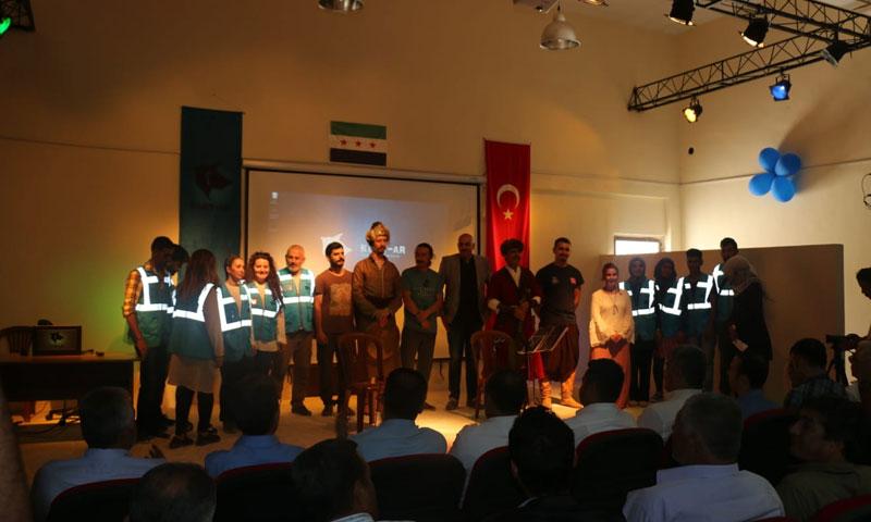 The opening ceremony of the al-Rai City Cultural Center, northern Aleppo – July 19, 2018 (Al-Rai City Civil Council)