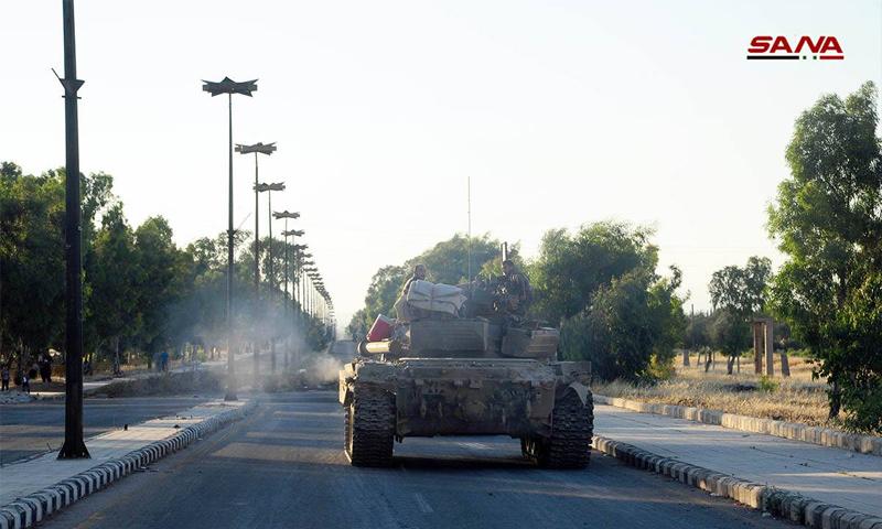 Assad's force's tank in the town of Kharab al-Shahem, Daraa - July 8, 2018 (SANA)