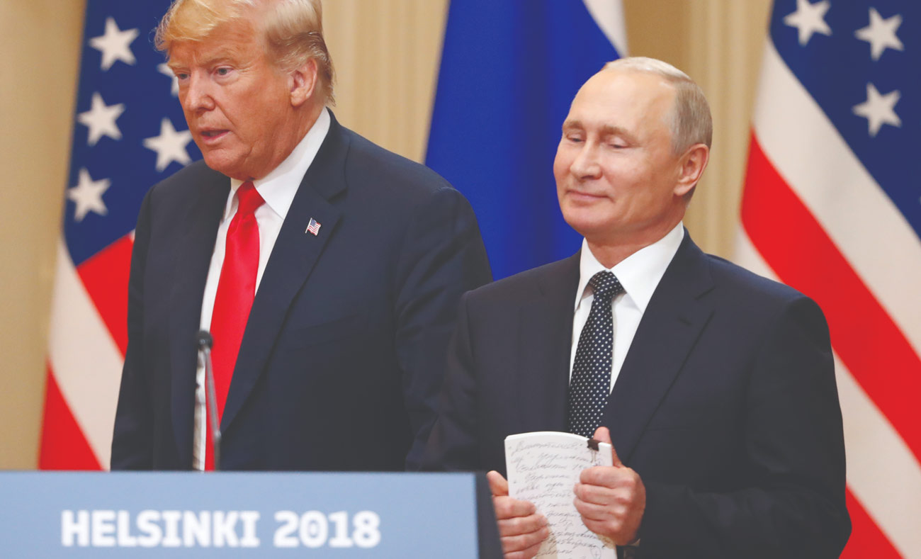 US and Russian presidents at Helsinki summit Monday, July 16, 2018 (Reuters)
