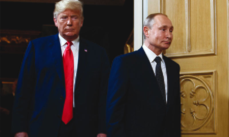 US and Russian presidents at Helsinki Summit, Monday, July 16, 2018 (Reuters)