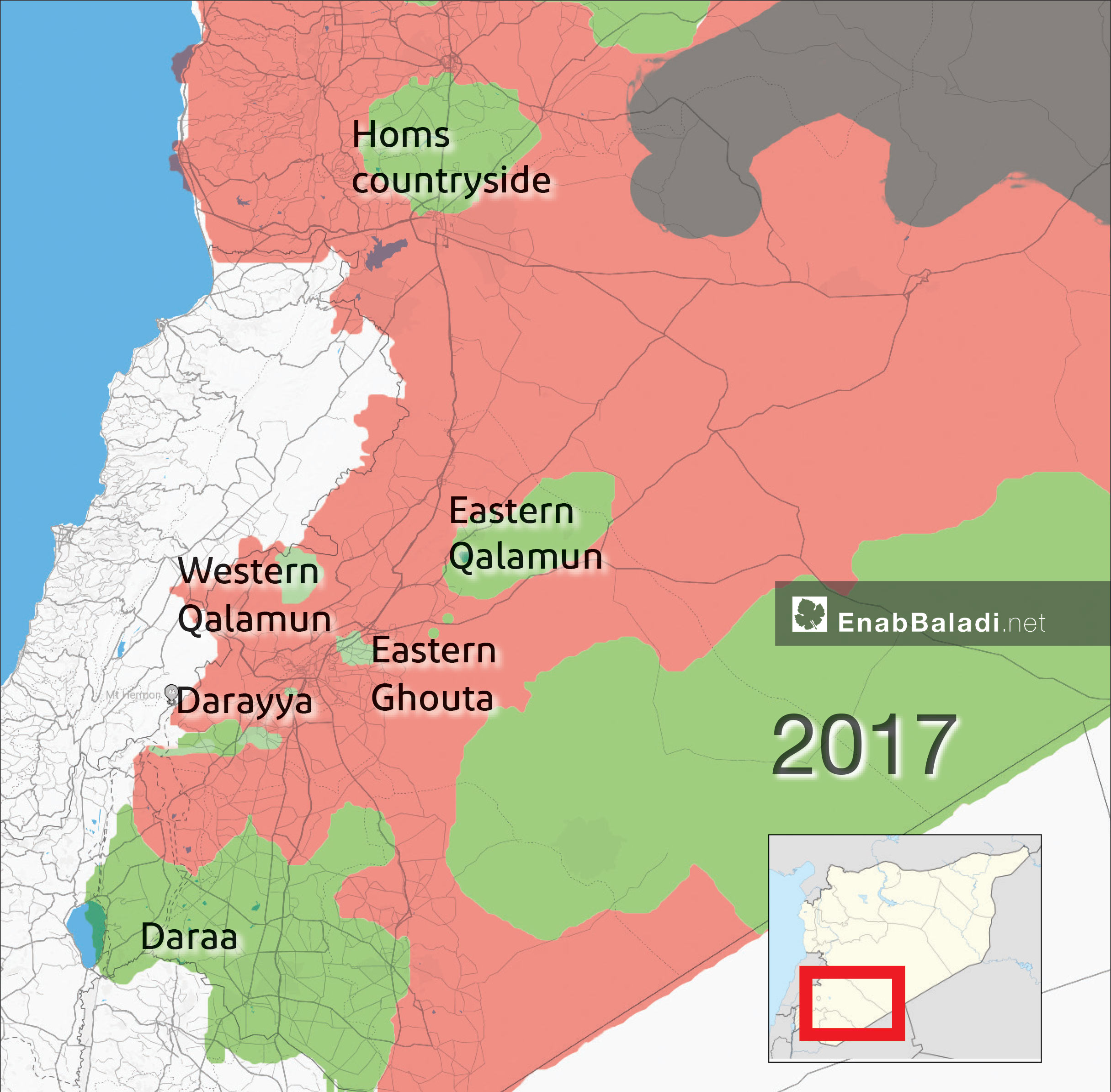 Map of field control in Syria before the start of Astana Peace Talks sessions. It shows areas that were then under the opposition's control in green color (Enab Baladi)