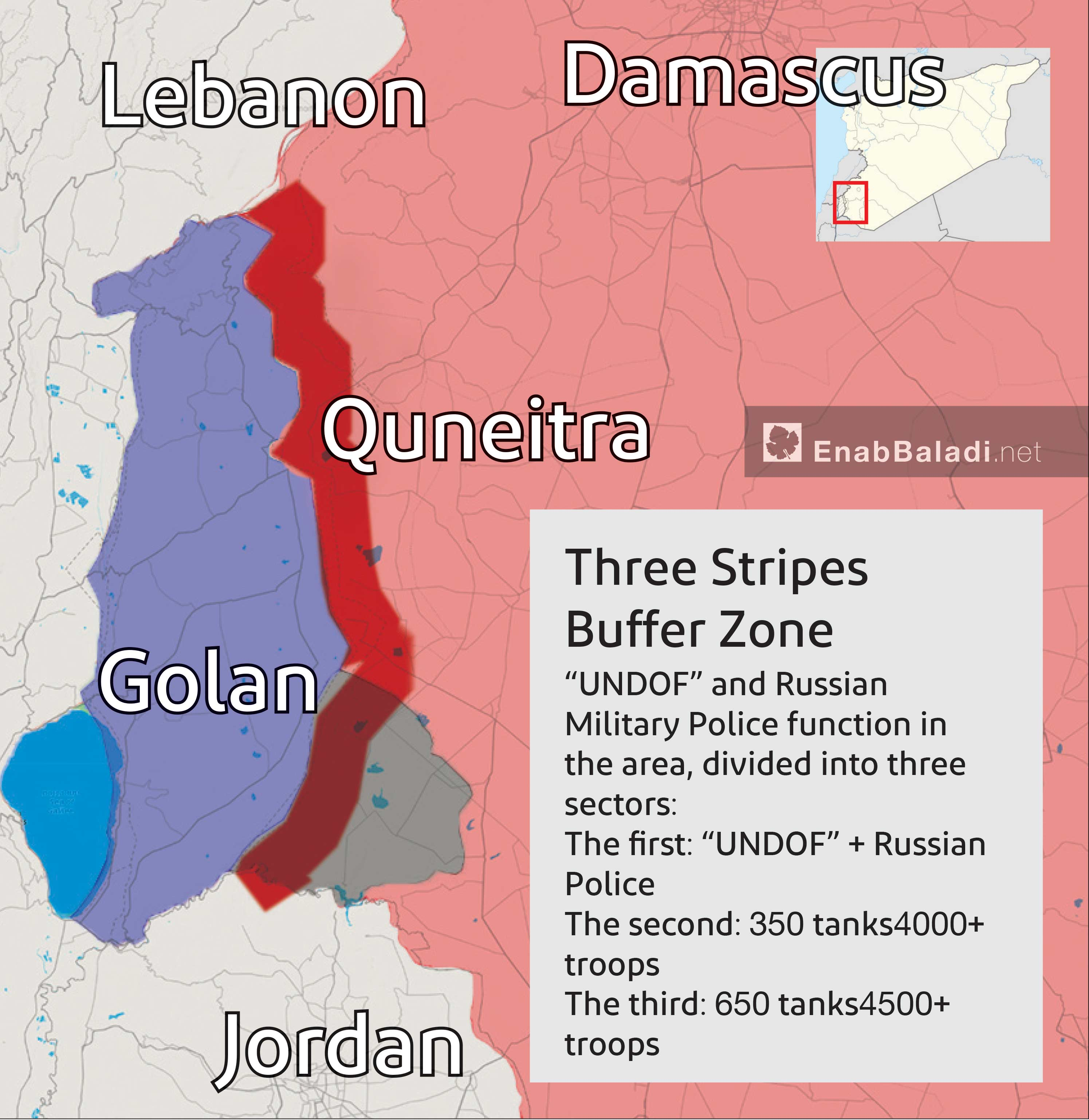 A map showing the 80 kilometers long buffer zone at the occupied Golan borders (Enab Baladi)