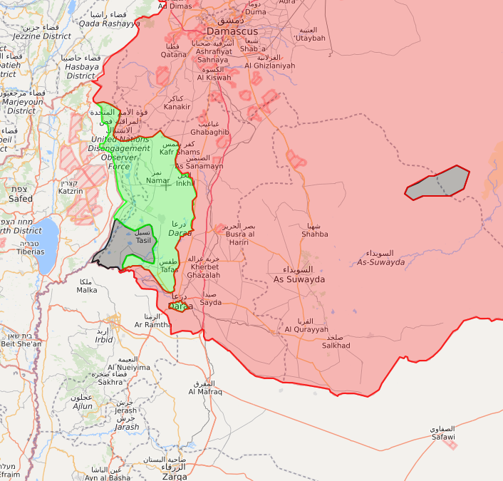 A map of Daraa governorate following the progress achieved by Assad's forces – July 10, 2018 (LM)